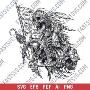 Pirate skull ship vector design files - SVG EPS PDF AI PNG