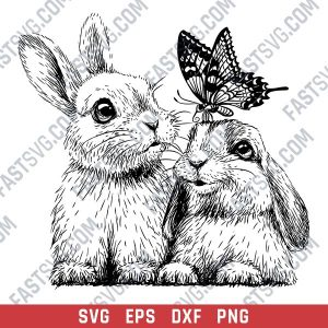 Rabbits with butterfly vector design files - SVG EPS DXF PNG