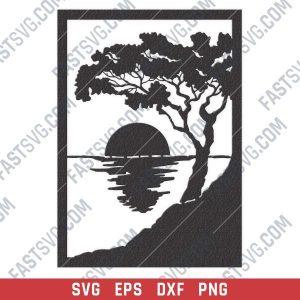 Sea light ocean wall decor design files - SVG DXF EPS PNG