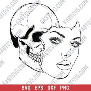 Woman face vector design files - SVG EPS PDF AI PNG
