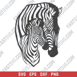Zebra mother and child vector design files - SVG DXF EPS PNG