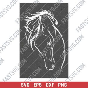 Horse face vector design files - SVG DXF EPS PNG