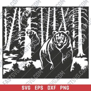 Bears in trees vector design files - SVG DXF EPS PNG