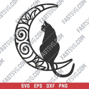 Cat moon vector design files - SVG DXF EPS PNG
