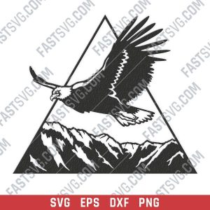 Eagle triangle mountain vector design files - SVG DXF EPS PNG