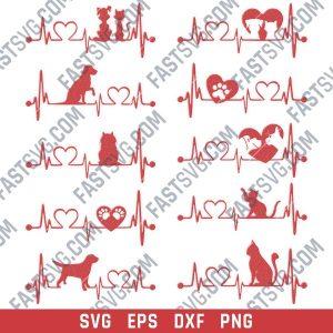 Heartbeat vector design files - SVG DXF EPS PNGv