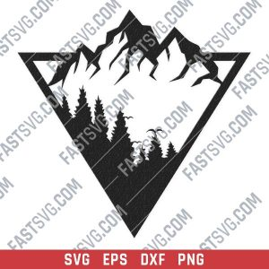 Triangle mountain tree pine vector design files - SVG DXF EPS PNG