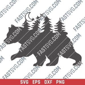 Bear in the woods vector design files - SVG DXF EPS PNG