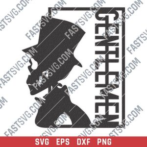 Gentlemen skull vector design files - SVG DXF EPS PNG