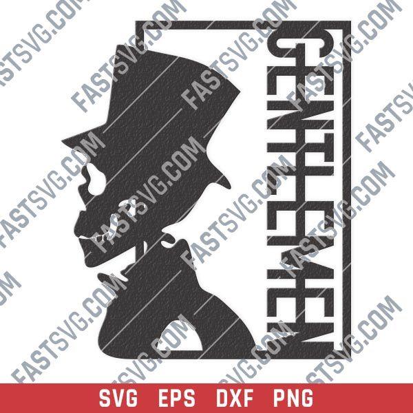 Gentlemen skull vector design files - SVG DXF EPS PNG