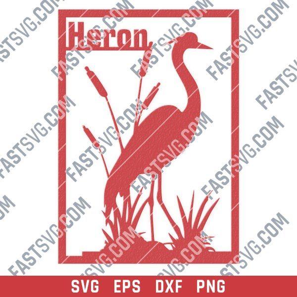Heron flamingo vector design files - SVG DXF EPS PNG