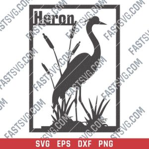 Heron flamingo vector design files - SVG DXF EPS PNG