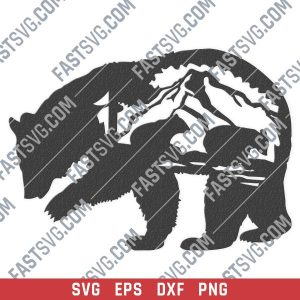 Mother bear vector design files - SVG DXF EPS PNG