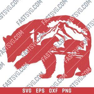 Mother bear vector design files - SVG DXF EPS PNG