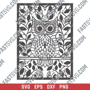 Owl leaves vector design files - SVG DXF EPS PNG