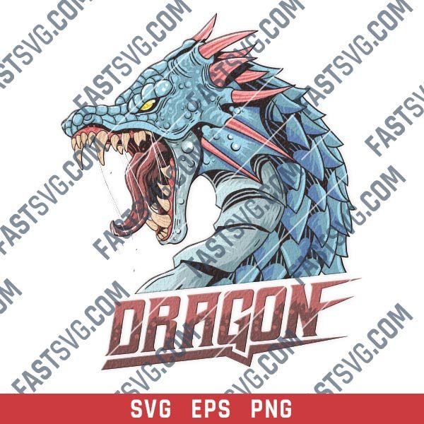 Angry dragon head with horns