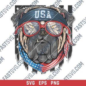 Bulldog with USA flag bandana