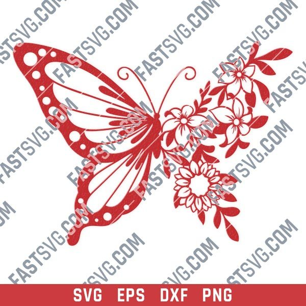 Butterfly flowers vector design files - SVG DXF EPS PNG