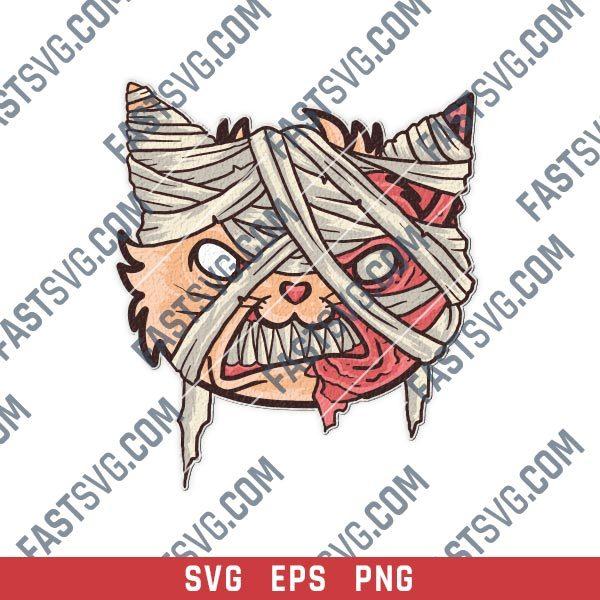 Cat mummy head vector design