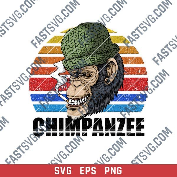 Chimpanzee smoking vector design