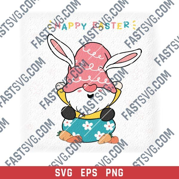 Cute bunny gnome on egg with carrot happy easter