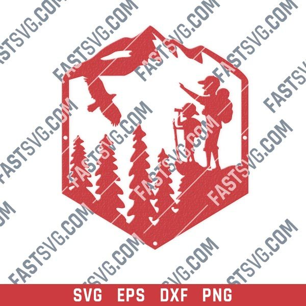 Dad son hiking camping vector design files - SVG DXF EPS PNG