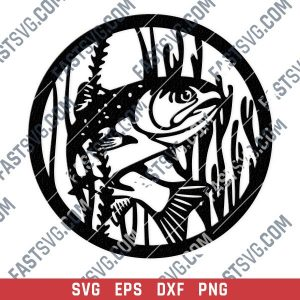 Fishing vector design files - SVG DXF EPS PNG