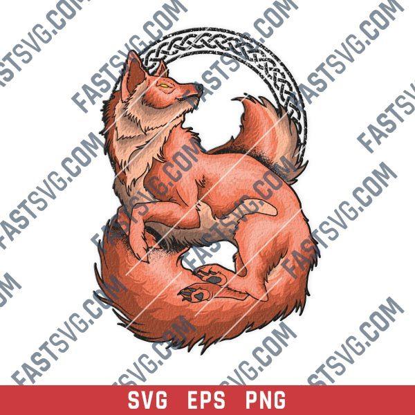 Beautiful fox ornamental vector design