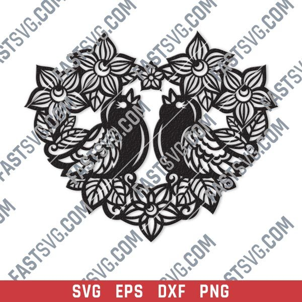 Heart flowers with birds vector design files - SVG DXF EPS PNG