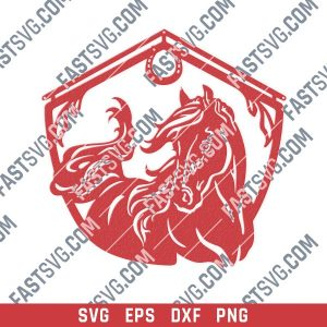 Horse and barn sign vector design files - SVG DXF EPS PNG