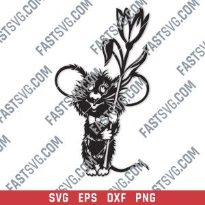 Mouse with flower vector design files - SVG DXF EPS PNG