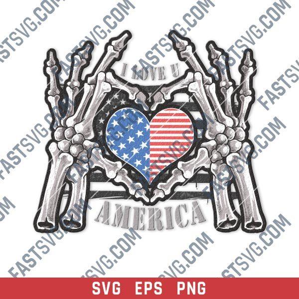 Skeleton hands holding American flag heart