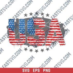 USA American flag textured text
