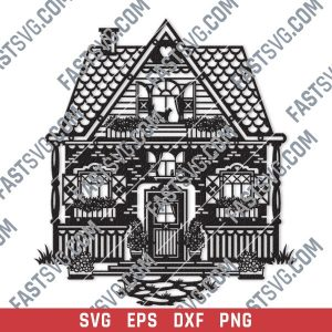 Wonderful house vector design files - SVG DXF EPS PNG
