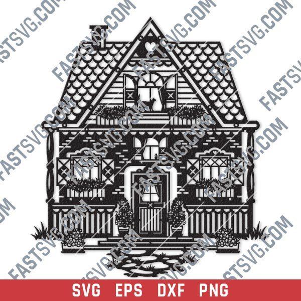 Wonderful house vector design files - SVG DXF EPS PNG