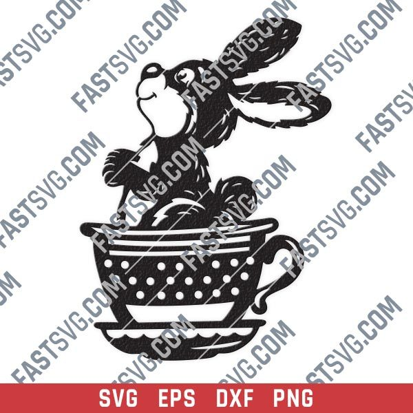 Cute bunny cup rabbit design files - EPS PNG SVG DXF
